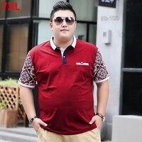 Large size men's POLO shirt short sleeve 7XLt shirt lapel Paul size tide brand big men's clothing 6XL 5XL