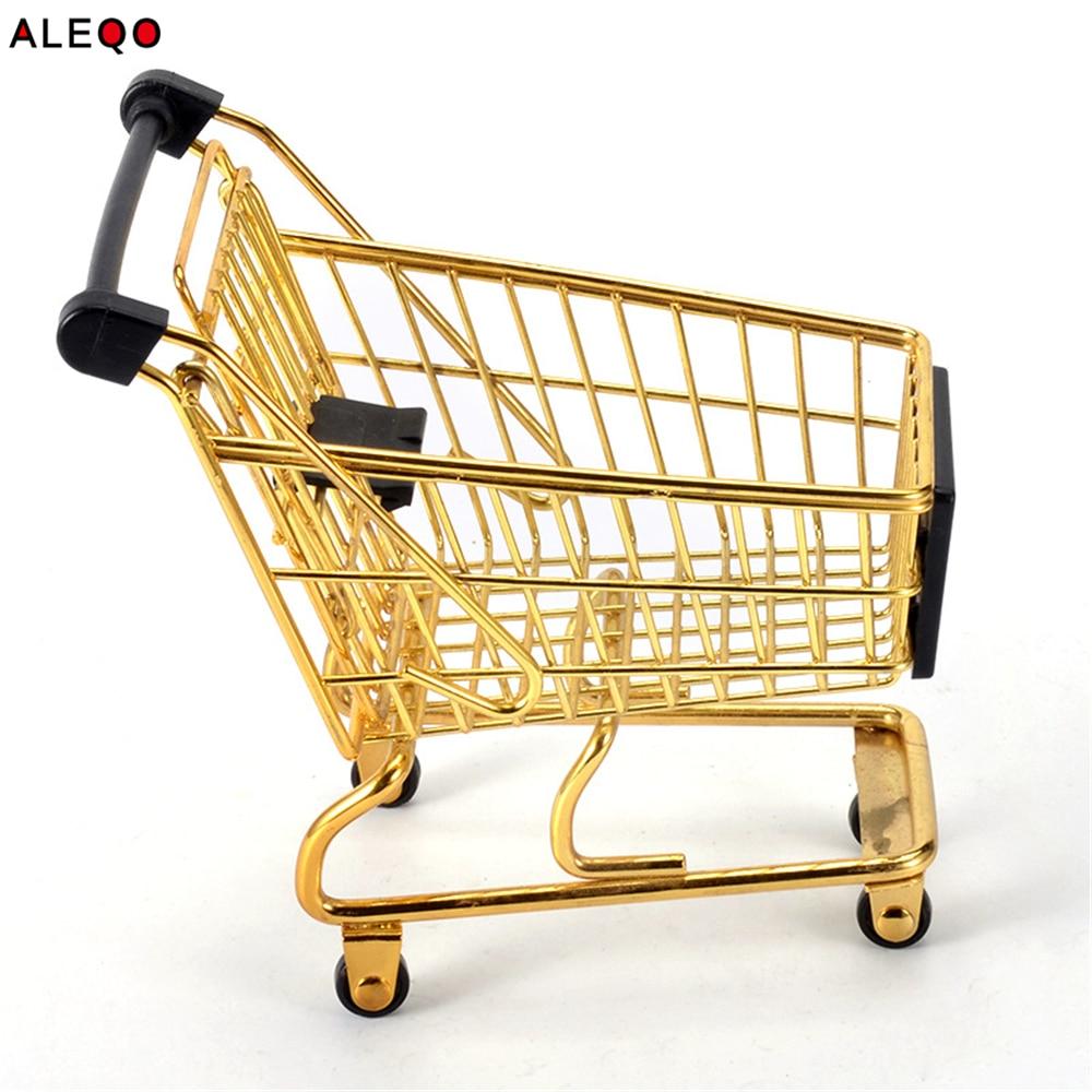 Mini Metal Rose Gold Storage Basket Vogue Chic Nordic Elegant Shopping Cart Style Candy Storage Basket Desk Debris Organizer