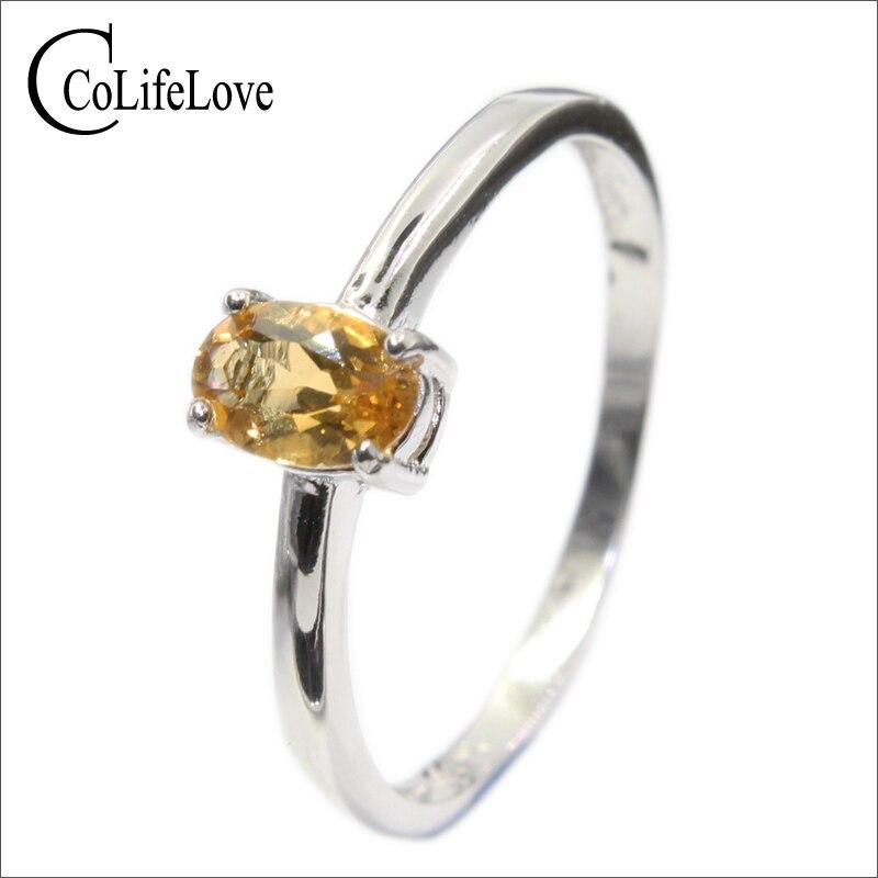Fashion silver engagement ring for girl 4 mm * 6 mm natural VVS citrine silver ring solid 925 sterling silver citrine ring foxriver носки лыжные 5998 vvs mv ski черный page 4