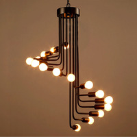 Loft Industrial Retro Chandelier Personality Simple Creative Living Room Cafe Bar Spiral Staircase Chandelier Lighting