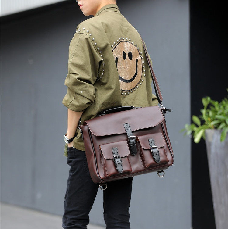 New 2017 Men Shoulder Bags Leather Laptop Messenger Bag Casual Business Briefcase Computer Laptop Handbag Men's Travel Bag 2017 men casual briefcase business shoulder bag leather messenger bags computer laptop handbag bag men s travel bags