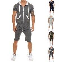 Летний повседневный спортивный комбинезон, мужская толстовка с коротким рукавом, худи, короткие штаны, комбинезон, мужской комбинезон, спортивная одежда