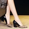 Mujeres atractivas Bombean Los Zapatos de Tacón Alto Gruesos Zapatos de Tacones Altos de piel de Serpiente de Imitación de Cuero de Las Señoras Patrón de Señoras de la Oficina Zapatos de Mujer