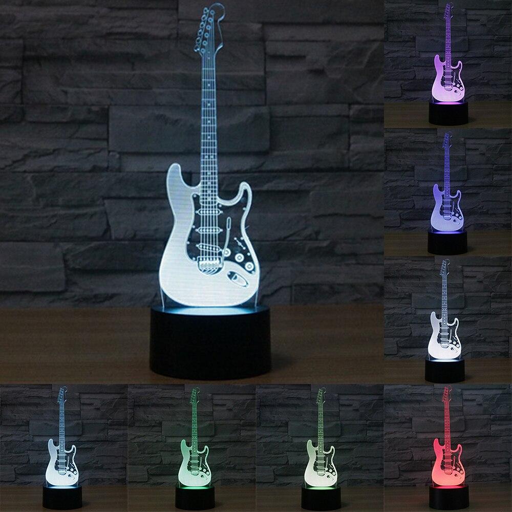 Creativo 3D luce chitarra elettrica Modello Illusion 3d Lampada LED Colore 7 che cambia USB touch sensor desk luce di Notte Della Luce IY803726
