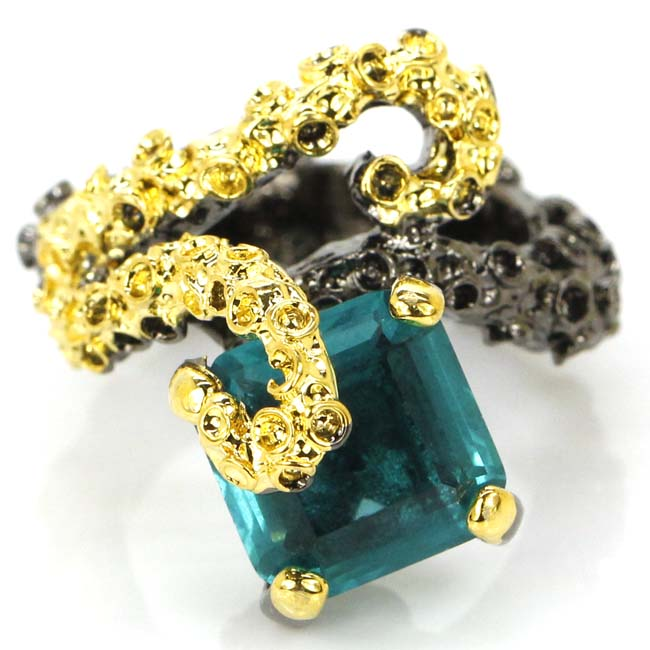 7.75# Vintage Style Rich Blue Aquamarine SheCrown Womans Party Black Gold 925 Silver Ring 21x18mm