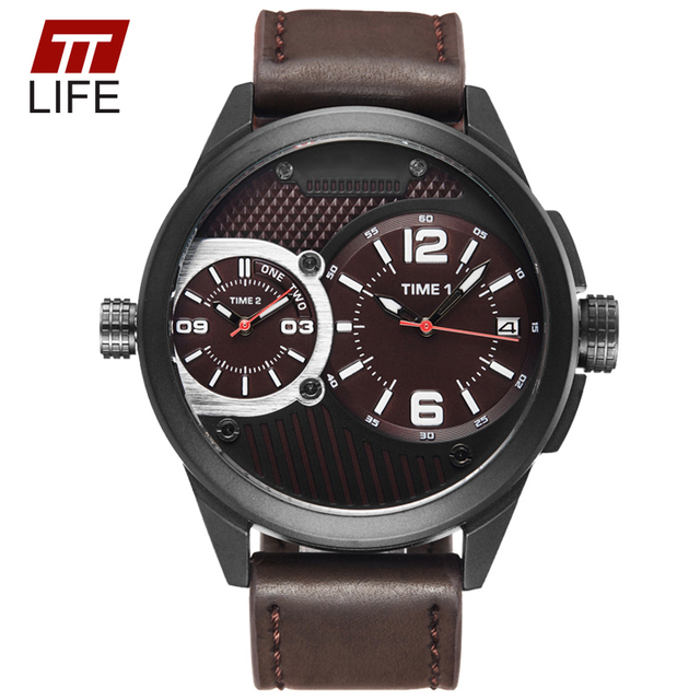 TTLIF Brand Large Dial Watches for Men Water Resistant Leather Watch Band Strap Alloy Case Casual Business Man Wrist Watches New