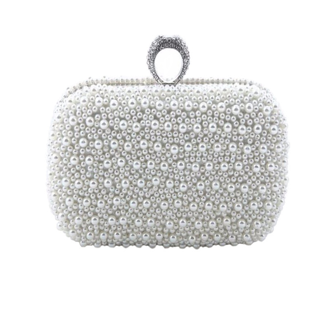 2016 Full Side Beaded Evening Bag Finger Rings Day Clutch Bridal Bags Pearls Purse Handbags White Champagne Clutch Bag  ZD 476