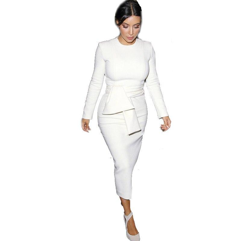 Women Autumn Winter Elegant Celebrity Kardashian Casual Party Evening Stretch Bodycon Long Sleeve Peplum White Wiggle Midi Dress
