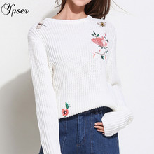 Ypser Women Fashion Solid Pullover Embroidery Flower Birds Sweaters Casual Streetwear Knitted Sweater(China)