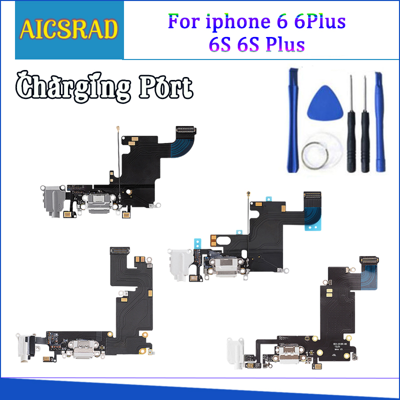 1pcs New Charger Charging Port USB Dock Connector Replacement For IPhone 5 5S 6 6S 7 Plus Headphone Audio Jack Flex Cable