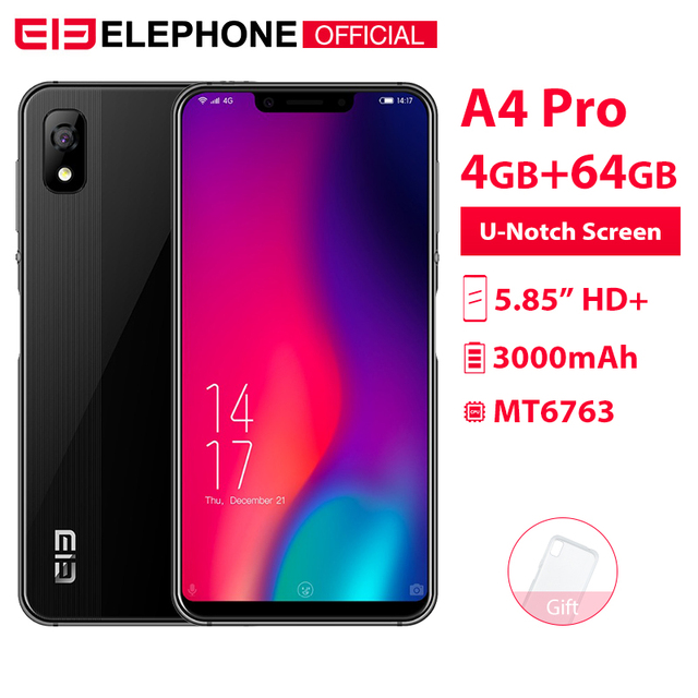 Cargadores de coche Elephone A4 Pro 5,85 pulgadas HD + U-primera pantalla teléfono móvil Android 8,1 4 GB RAM 64 GB ROM MT6763 Octa Core 16MP 4G LTE Smartphone