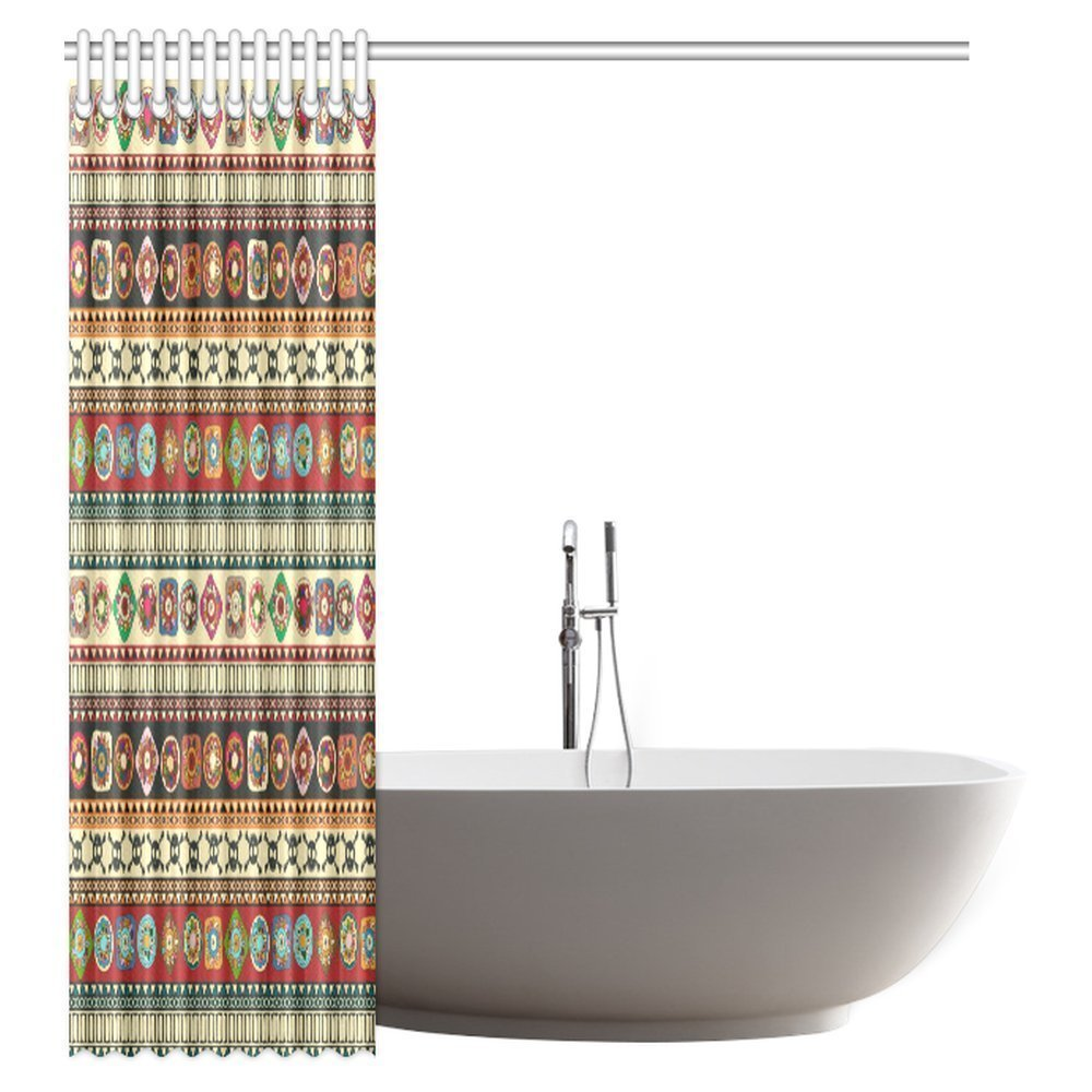 76add00fb0 US $22.49 |Aplysia Native American Shower Curtain Geometric Triangle Aztec  Tribal Motifs and Zig Zag Folk Ethnic Native Bath Curtains-in Shower ...