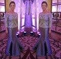 Nova Prata 3/4 Manga Mãe do Vestido Da Noiva 2016 rendas Barco Pescoço Até O Chão Beading Sash Mulheres Festa Formal vestido