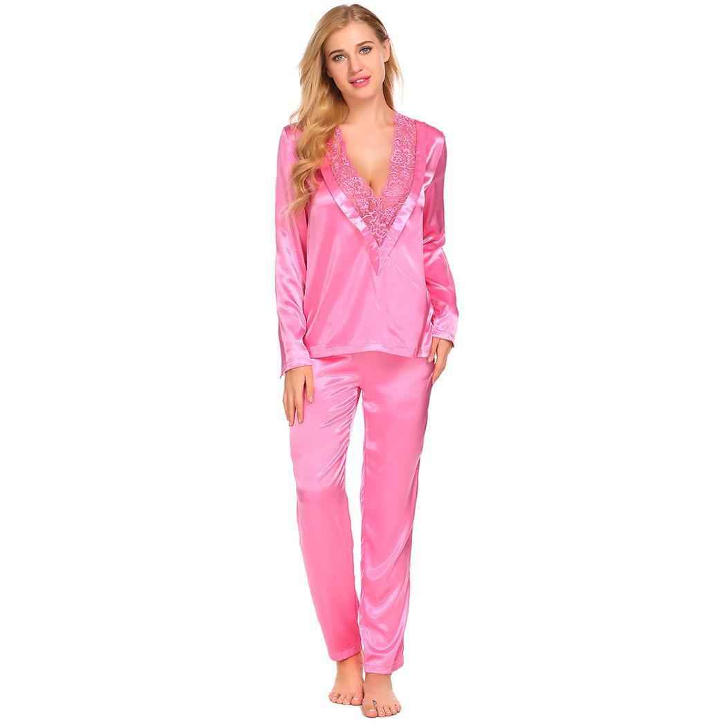 Ekouaer Women Long Sleeve   Pajama     Set   Sleepwear Deep V Neck Lace Patchwork Tops Long Pants   Pajamas     Sets   Lady Home Nightwear