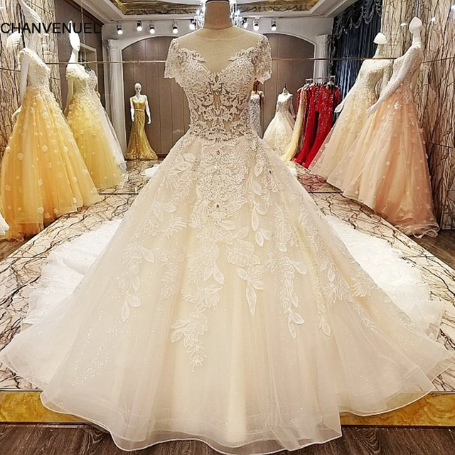 Ls6351 Wedding Dresses With A Long Train Ball Gown Transpa Zipper Back Short Sleeves Newest