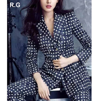 RG OL Business Office Wear Suits 2 Piece Set Women Double Breasted White Star Printed Blue Blazer Long Pants Suit Sets 2018