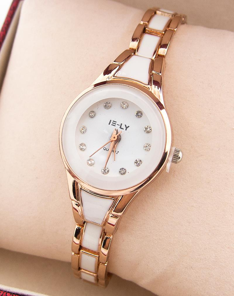 High Quality Rose Gold Tone Watch Women Lady font b Elegant b font Crystal font b