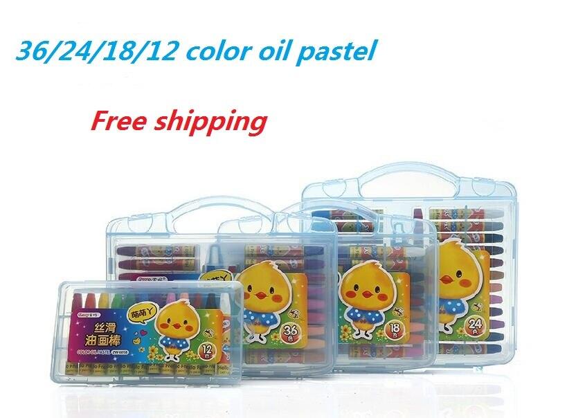 Desenho Pastel de óleo Conjunto 36/24/18/12 Cores Solúvel Em Água Lápis De Cor para Crianças Material Escolar Arte Conjunto de artigos de papelaria 1