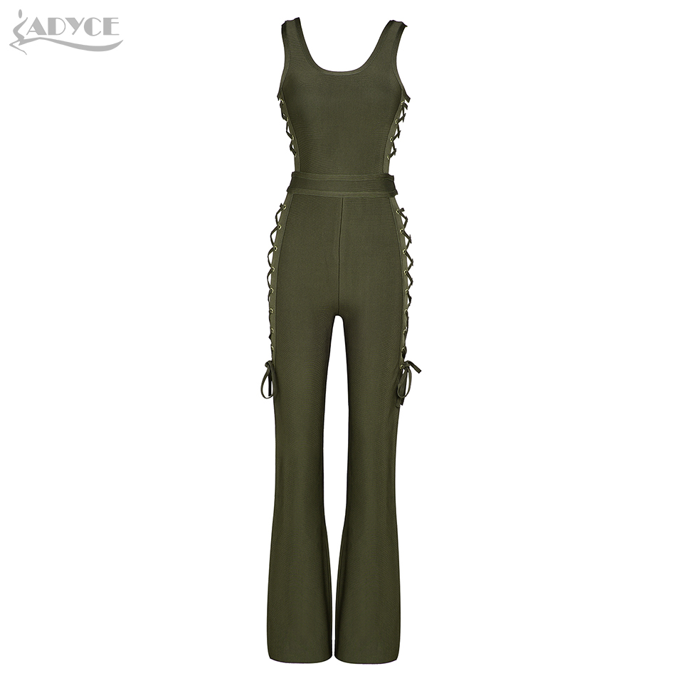 Adyce 2017 Summer Women Bandage Rompers Bodysuit Army Green Side Lace Up Sleeveless Hollow Out Celebrity Party Long Jumpsuit