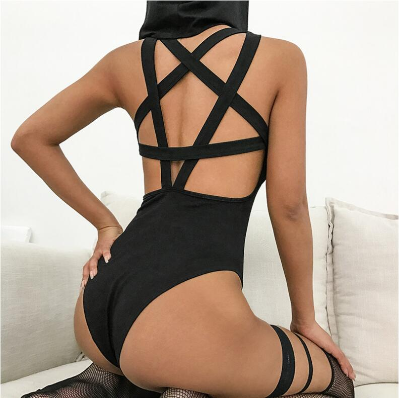 Sexy Backless Solid Star Cross Bandage Hoodied Bodysuits Women 2018 Spring Streetear Sleeveless Open Crotch Bodysuit
