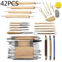 42PCS Art Crafts Clay Sculpting Pottery Pottery Wooden Handle Modeling Clay Tool