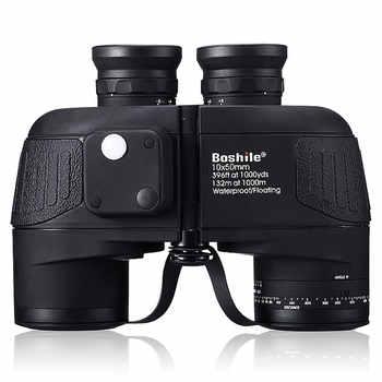 Military hunting HD Marine Binoculars boshile 10X50 Zoom Rangefinder Compass Telescope Eyepiece Waterproof Nitrogen bak4 black - DISCOUNT ITEM  15% OFF All Category