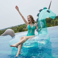 Giant Inflatable 240cm Unicorns Pool Floats Tube Raft Swimming Ring Circle Water Bed Boia Piscina Adults Party Toys