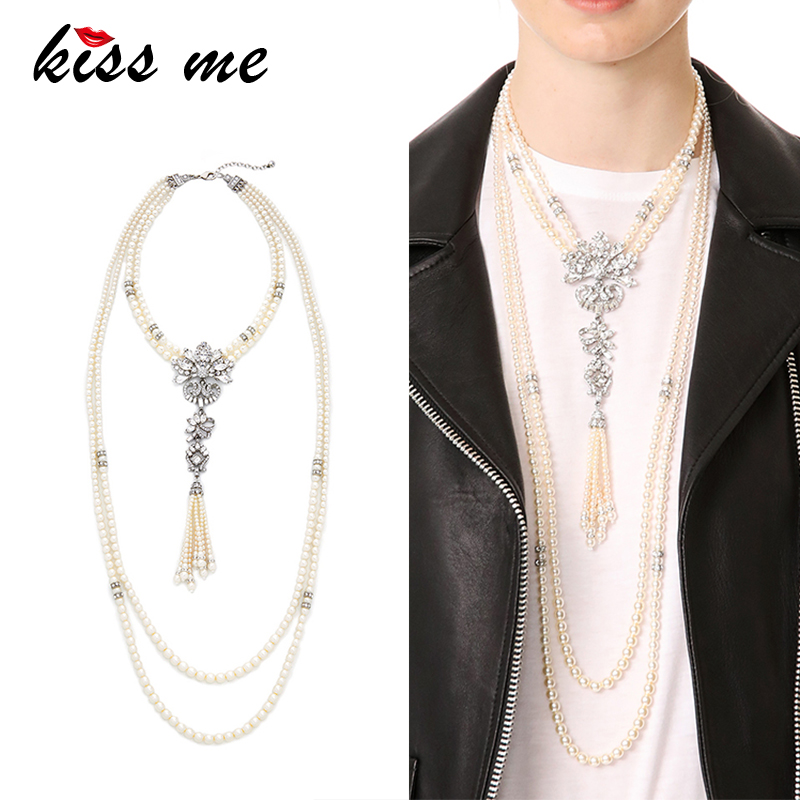 KISS ME Classic Long Multi Layers Imitation Pearls Necklace Geometric Crystal Tassel Pendant Necklace Women Bijoux
