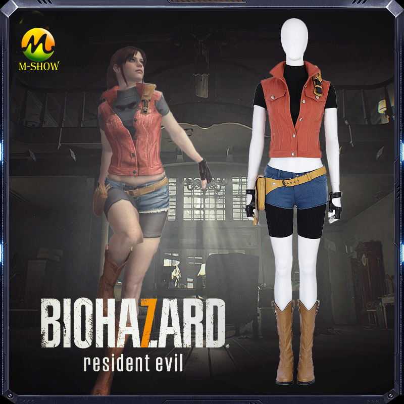 Resident Evil 7 Claire Cosplay Costume Woman Fashion Denim vest And Shorts Claire Full Set Suit For Halloween Party