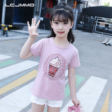 LCJMMO 2019 NEW Kids Girls Shirts White Summer Cotton Short Sleeve Girls Tops Fashion Cartoon Ice Cream Teen Girl Clothing 3-12Y