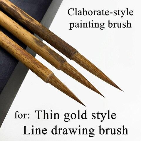 3 pcs set cabelo fuinha pintura chinesa escova para pintura caligrafia estilo claborate estilo de