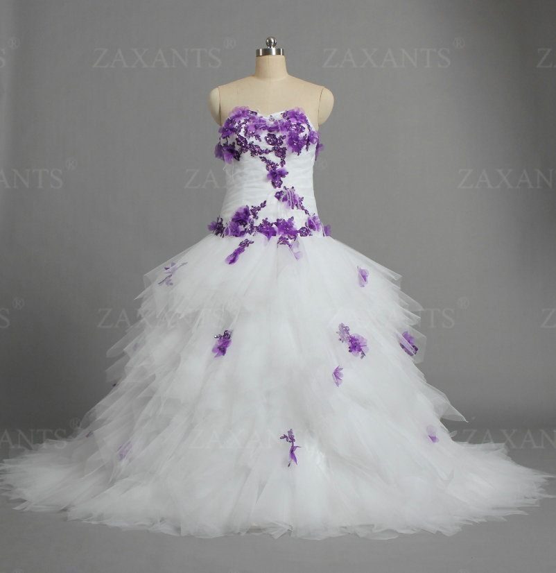 W1326 Vintage Off Shoulder Feathers Ball Gown Tulle White And Purple Wedding Dresses For Bride In From Weddings Events On Aliexpress