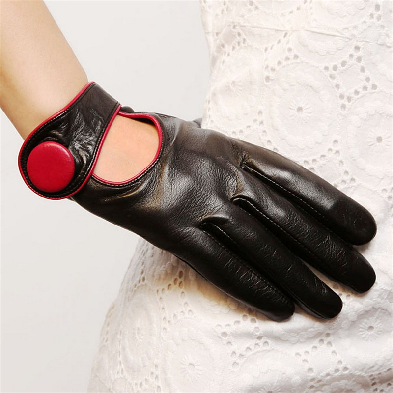 Image 3 - Sale Fashion Women Sheepskin Gloves 2019 NEW Genuine Leather High Quality Elegant Lady Five Fingers Driving Glove EL028NN-in Women's Gloves from Apparel Accessories