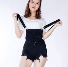 Black White Blue Spring Summer Overalls Denim Shorts Women Simple Loose Fit Bib Short Casual Short Singel Breasted Jeans Shorts