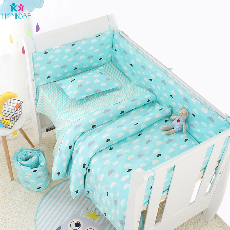 6Pcs Soft Cotton Blue Cloud Baby Crib Bed Bumpers Infant Bed Cot Bumper Bed Protector Safe