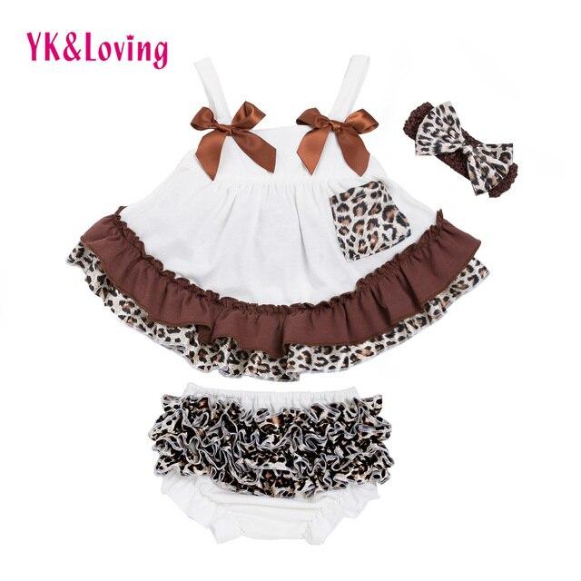 4ac325e84e Baby Girl Ubrania Zestawy Leopard Swing Top Bawełna Newborn Dziewczyny  sukienka Sling T-Shirt +