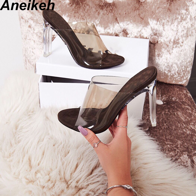 Aneikeh 2019 New PVC Jelly Sandals Crystal Open Toed Sexy Thin Heels Crystal Women Transparent Heel Sandals Slippers PumpsAneikeh 2019 New PVC Jelly Sandals Crystal Open Toed Sexy Thin Heels Crystal Women Transparent Heel Sandals Slippers Pumps