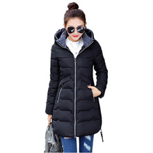 New Wadded Winter Jacket Women Cotton Long Jacket Fashion 2019 Girls Padded Slim Plus Size Hooded Parkas Stand Collar Coat C423 цены онлайн