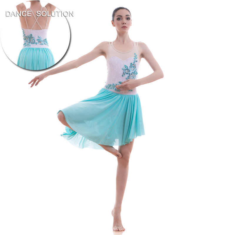 3322b73e0 Pale Blue/White Lyrical and Contemporary Dance Costume Girls & Women Stage  Show Ballet Dress