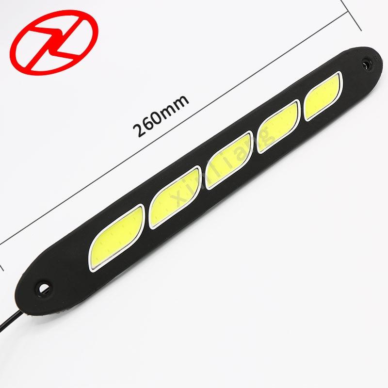 2PCS Saf Ağ LED Gündüz işləyən Yüngül Elastik DRL Suya - Avtomobil işıqları - Fotoqrafiya 2