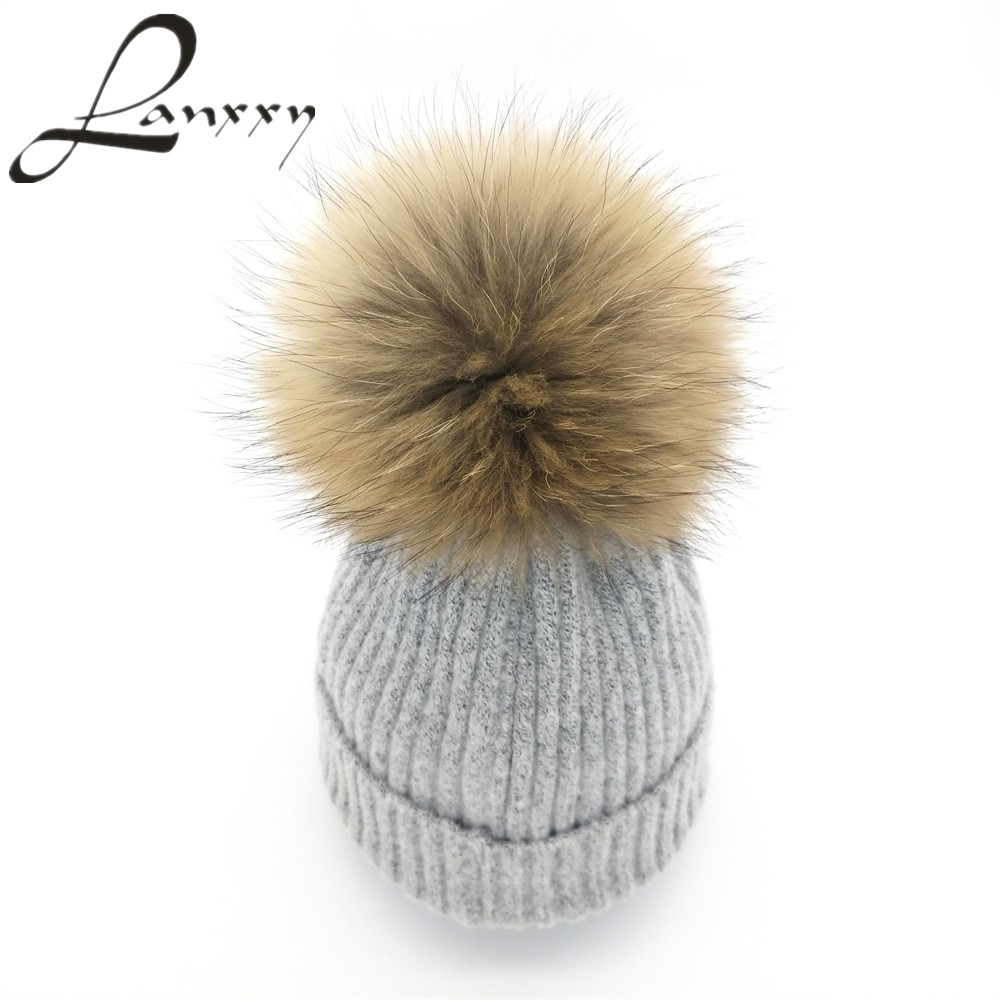 Lanxxy 2016 New Women Winter Hats Real Mink Fur Pom Poms Hat Girls Cotton Knitted Skullies Beanies Caps Fur Pompom Hats Bonnet