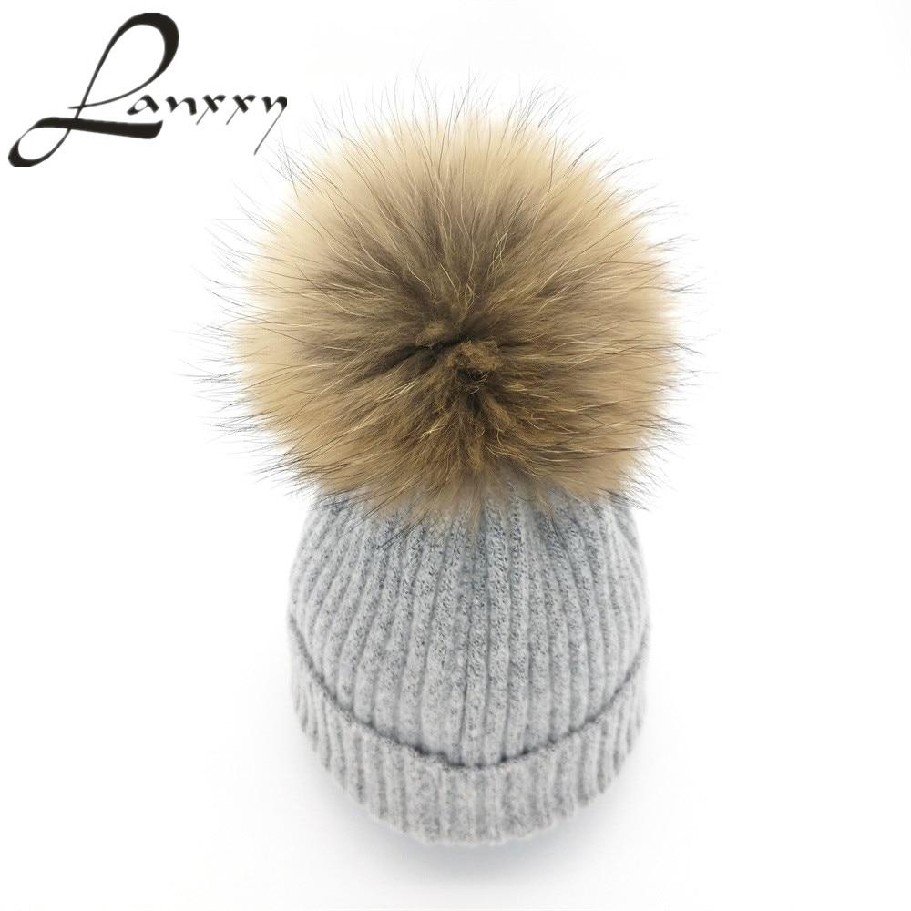 Lanxxy 2016 New Women Winter Hats Real Mink Fur Pom Poms Hat Girls Cotton Knitted Skullies Beanies Caps Fur Pompom Hats Bonnet