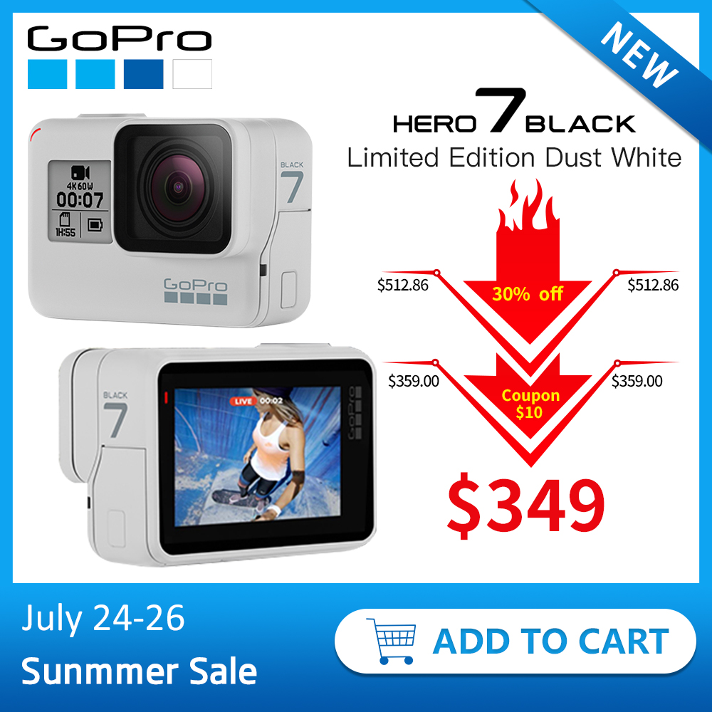 GoPro HERO7 Black Limited Edition Dusk White Waterproof Action Camera 4K 60fps 1080P 240fps video Go