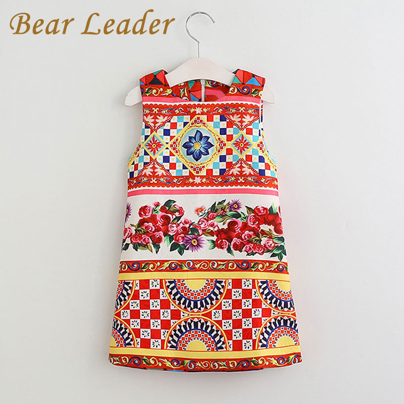 Bear Leader 2017 New Girls Dress Summer Kids Clothes Children Clothing Brand Character Pattern Sleeveless Baby Girls Dress Party little maven children clothing 2017 new summer baby girls brand clothes kids cotton dot pocket dress s0135