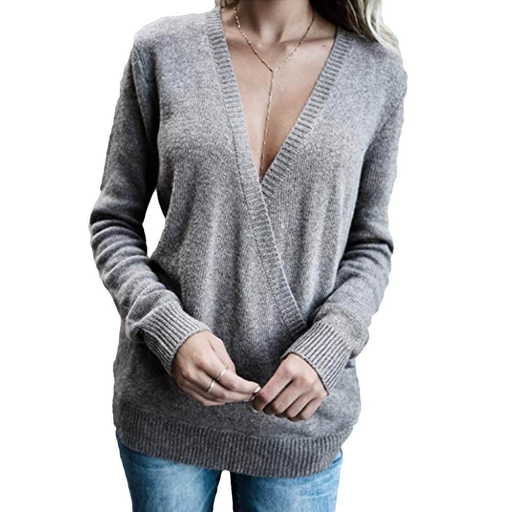 Fashion Women Knitted Deep V Neck Long Sleeve Wrap Front Loose Cross Pullover