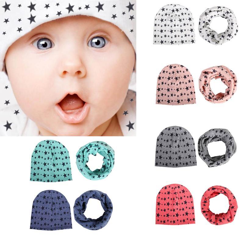 1 set cotton Baby hat scarf Kids Hat Autumn Winter Children scarf-collar Boys Girls warm Beanies Star print Infant Hats