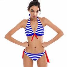 ФОТО 2018 women's bikini set striped solid color splicing sling top sexy beach swimwear swimming pool attracting eyeball bikini