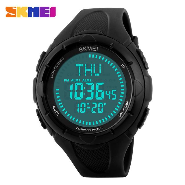 SKMEI 1232 Hombres EL Luz Brújula Hora Mundial Relojes de Pulsera Digitales Repetidor de Cuenta Regresiva de Alarma Reloj Deportivo Relogio masculino