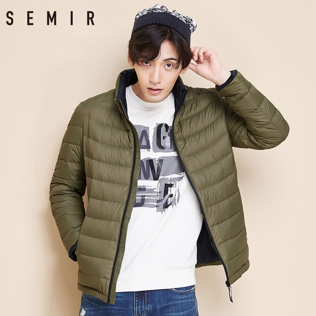 SEMIR Men Down Jacket Winter New Light Short Coat 90 Velvet Warm Casual Fashion Clothes For Male Winter Thin Men Down Jackets