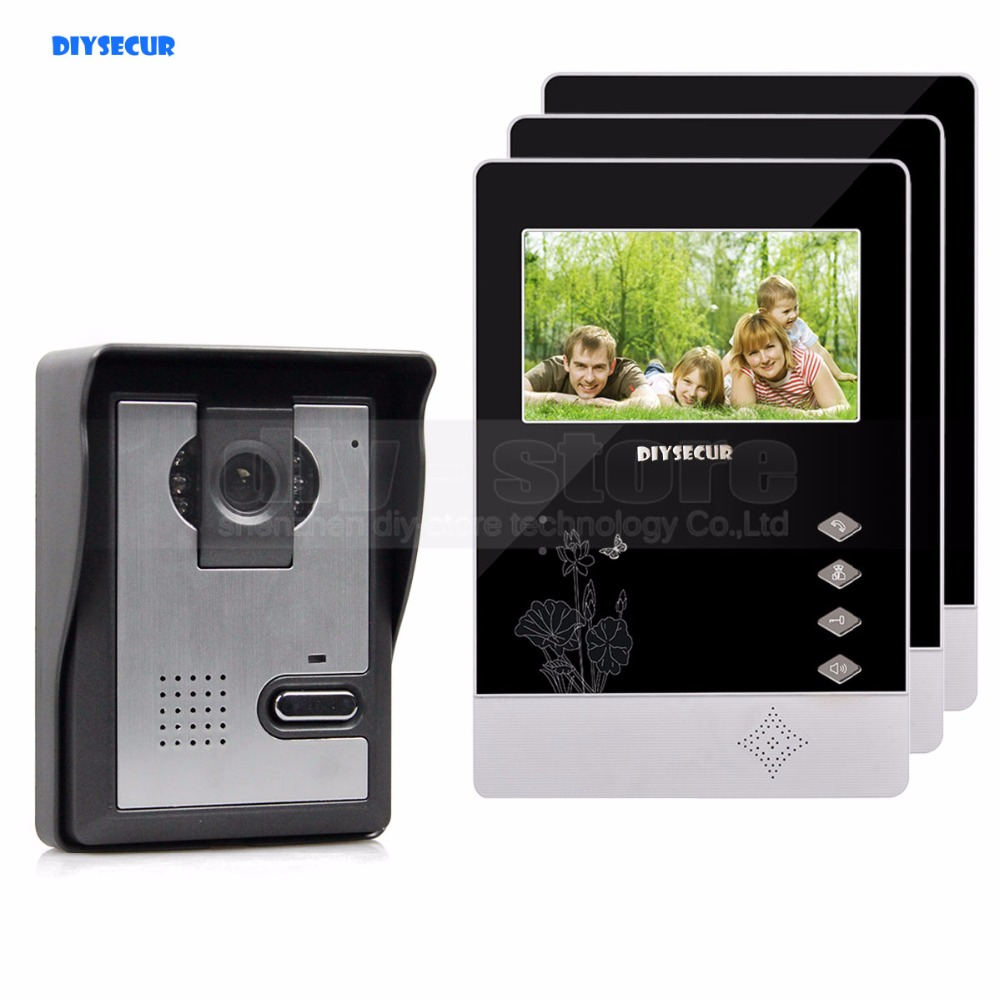 DIYSECUR 4.3 inch Indoor Monitor + 600 TVLine HD Camera IR Night Vision Video Door Phone Video Intercom 1V3